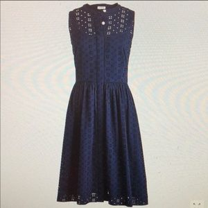 NWT J Crew Navy Eyelet Shirt Dress Size 6